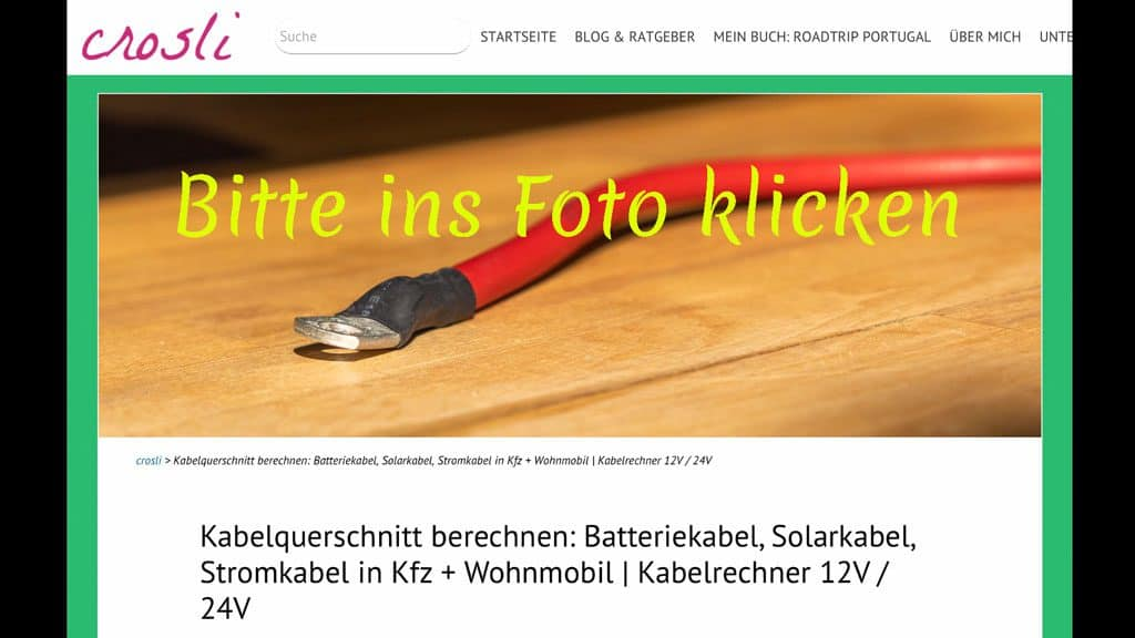 LINK: Kabelquerschnitte berechnen: Batteriekabel, Solarkabel, Stromkabel