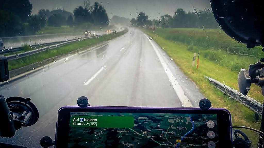 Regenwetter auf der A8