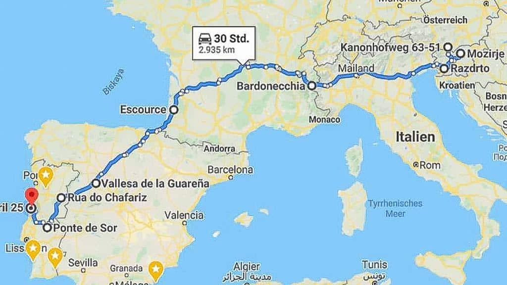 Quer durch Europa 00 Route Black Pearl und Allzeit-Bereift