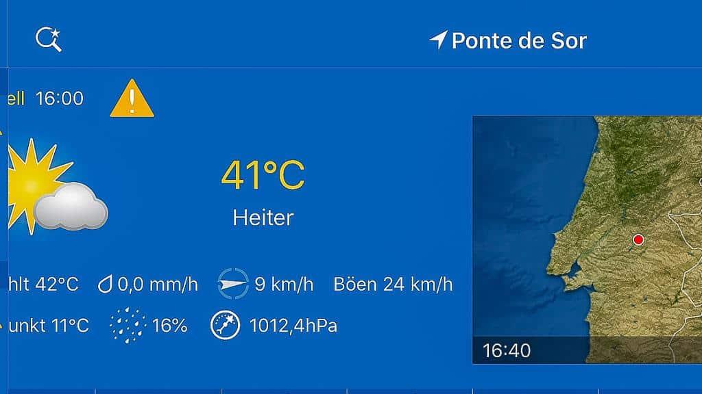 Temperaturanzeige für Ponte de Sor