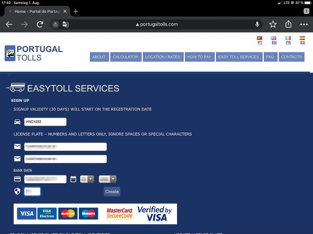 Elektronische Maut in Portugal - ganz einfach