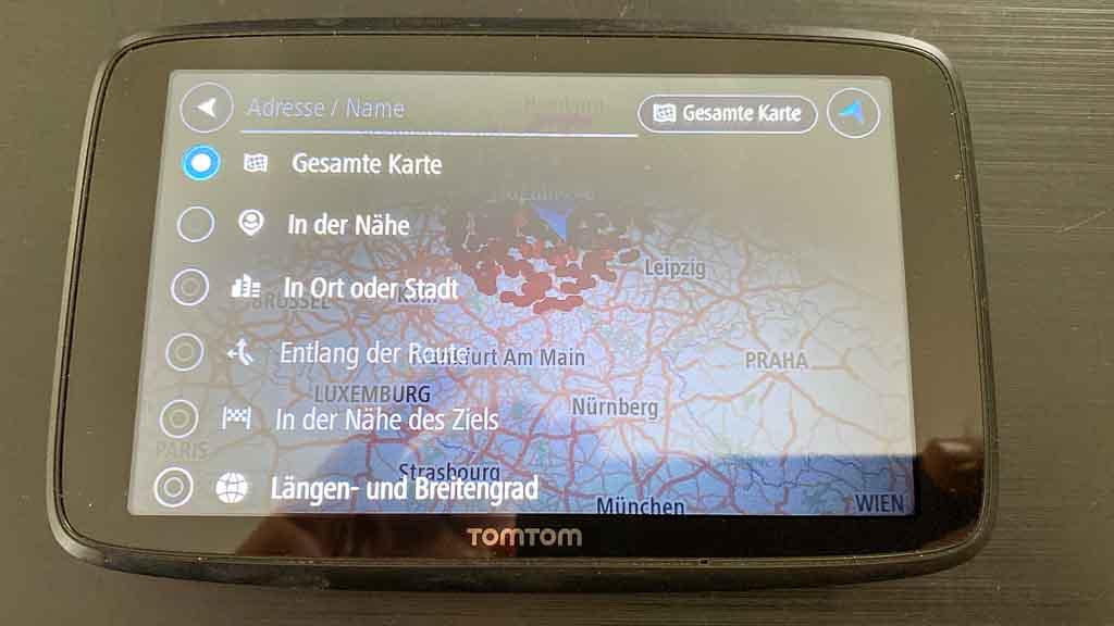 Navigation für große Wohnmobile TOMTOM-Go-Professional-620 Bildschirm der Adresssuche