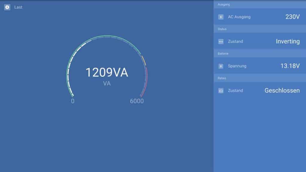 Stromverbrauch unseres neuen Staubsaugers, direkt am Wechselrichter im Wohnmobil gemessen.